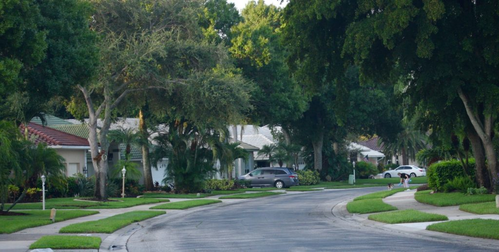 an empty residential street