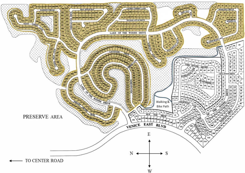 Lake of the Woods Neighborhood and Walking Path Map